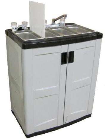 Mobile 4 Compartment Plastic Sink Cart - NBO Kettle Corn Equipment
